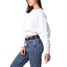 Calvin Klein Badge Interlock Sweater Damen Sweatshirt kurz weiß J20J214208-YAF