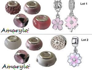 Lot 6 perles charms pour bracelet serpent européen Type Pandora - Rose et Blanc