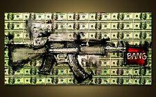 GUN ART - RIFLE - MONEY - DOLLARS - Benjamings - Modern ART by SLAZO