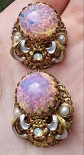 Antique West German Foil Fire Opal Glass Stone Earrings