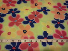 """2 yards Colorful Floral/ Flowers on Lime Green 100% Cotton Fabric- 44"""" wide"""