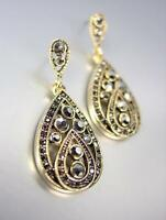LUXURIOUS 18kt Gold Plated Marcasite Crystals Tear Drop Chandelier Earrings