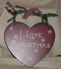 "I LOVE CHRISTMAS Heart Shaped Hanging Wood Christmas Plaque 6.75"" x 6"""