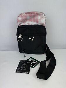 PUMA Women Crossbody Travel Bag Pouch Pink Logo Adjustable Strap New