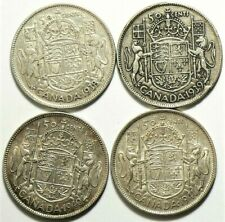 1938 1939 1940 1941 Canada 50 Cents Silver Lot of 4 #11726