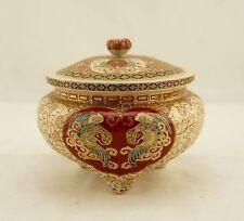 Meiji Japanese antique Satsuma Yaki gosu enamelled Ho-o phoenix/floral koro box