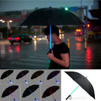 LED Color Changing Black Umbrella Light Flash Night Protection Flashlight Gifts