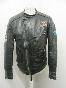 VINTAGE 80's SEGURA DISTRESSED LEATHER PERFECTO MOTORCYCLE JACKET SIZE 48 / M