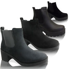 NEW LADIES LOW MID HEEL BLOCK CHUNKY PLATFORM CLEATED CHELSEA ANKLE BOOTS SIZE