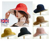 Women Ladies Reversible Bush Bucket Soft Cotton Folding Hat Festival Sun Hat Cap