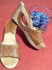 Super Cool Michael Kors Wooden Wedge Platform Leather Shoes Heels Brown 5.5 FUN!