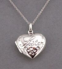 Sister Heart Locket Necklace 925 Sterling Silver Pendant Jewelry NEW