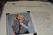 """Knit One Crochet Too Knitting Pattern Monet Herringbone Vest 37-48"""""""