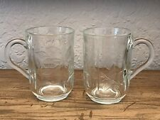 Set Of 2 Cristal D'Arques Coffee Tea Mugs Floral Design Made In Portugal.