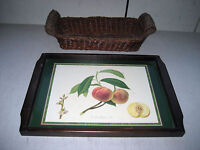 Used Large Tray & Basket set, dark mahogany wood trim, Peaches design 17x12x1