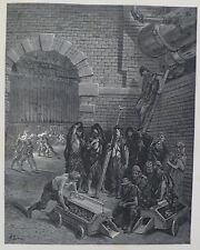 Doré-Londres; 'Lambeth Gasworks's, antiguo original grabado en madera, C.1870