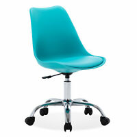 Leather Armless Mid-Back Office Task Chair Upholstery Height Adjustable, Teal