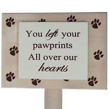 Pet Memorial Plaque Marker Pawprints on Heart Suitable For Dog Cat Wood F1190B