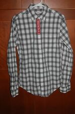 Business Casual Shirt White/Gray Checks Size M/M Men Long Sleeves by Merona NWT