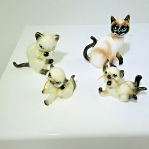 4 Siamese Seal-Point whisker kittens porcelain Miniature cats vintage dollhouse