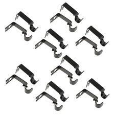 16 Pieces Adjustable Metal Curtain Pole Rod Wall Bracket Hook Holder Black