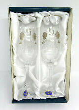 Bohemia Crystalex Vintage Diana 25 Silver anniversary Champagne Flutes Crystal