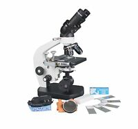 2500x Medical LED Cordless Compound Binocular Microscope w Battery & Slide Kit