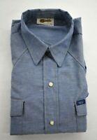 Vintage NOS Key Imperial Mens Western Blue Short Sleeve Pearl Snap Shirt Sz 15 S