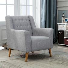 New Grey Linen Fabric Retro Button Back Accent Armchair Tub Chair Living Room