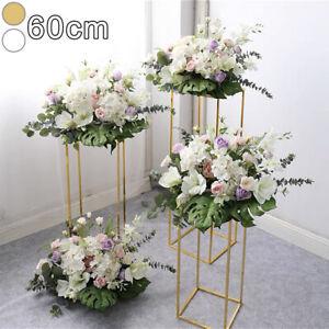 60cm Metal Geometric Flower Rack Wedding Art Column Vases Stand Prop Detachable