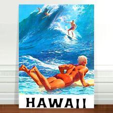 "Stunning Vintage Travel Poster Art ~ CANVAS PRINT 16x12"" Hawaii Surf Man"