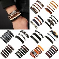 Men's Retro Punk Leather Beads Braided Wristband Bracelets Bangle Jewelry Set