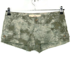 Hollister Womens Juniors Cut Off Cargo Shorts Green Tie-Dye Size 3 26 Frayed
