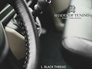 FOR TRIUMPH GT6 72- BLACK LEATHER STEERING WHEEL COVER | DIFF STITCH