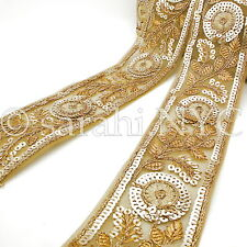 Gold Sequin Fabric Ribbon Trim trimming,Embellishment,co stume,pageant,Art