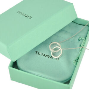 Auth TIFFANY&CO. 1837 Interlocking Circles Pendant Necklace Sterling Silver