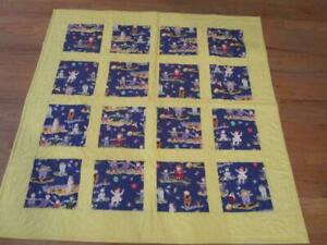 """Hand Made Infant Toddler Baby Quilt Unisex Yellow Children Ballons 41""""by 41"""""""