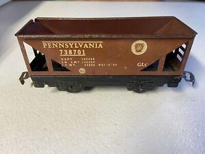 MARX BROWN FOUR WHEEL PENNSYLVANIA HOPPER CAR #738701 - CLASSIC -VINTAGE