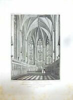 Old Antique Print 1810 Lichfield Cathedral Church Lady Chapel Radclyffe 19th