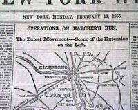 BATTLE OF HATCHER'S RUN Siege of Petersburg Virginia1865 Civil War MAP Newspaper