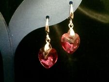 NEW Made W SWAROVSKI CRYSTAL FUCHSIA PINK AB 14mm STERLING SILVER HOOK EARRINGS