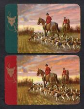 #200.014 vintage swap card -MINT pair- Horses & Dogs at sunset, gilded