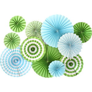WILD ONE Jungle Birthday Party Decorations Green Blue Striped Paper Fans 11 pcs