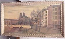 """Notre Dame School in Paris 48"""" x 24"""" Framed Painting by Roland Courteau"""