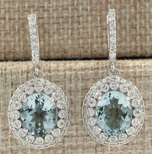 7.30 Carat Natural Aquamarine 14K White Gold Diamond Earrings