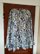 NWT PRESWICK & MOORE Women's XL Blue White Floral Polyester Long Sleeve Shirt