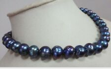 NATURAL SOUTH SEA 9-10MM GENUINE BLACK BLUE BAROQUE PEARL NECKLACE