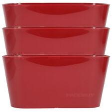 3 X Red Oval 30cm Plastic Plant Pot Cover Troughs