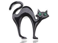 Halloween Scary Black Cat Crystal Eyes Enamel brooch fr21