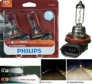 Philips X-Treme Vision H11 55W Two Bulbs Head light Low Beam Replace Plug Play